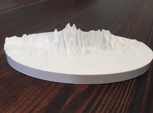 The Wellsvilles mountain range. 3D Printed model.